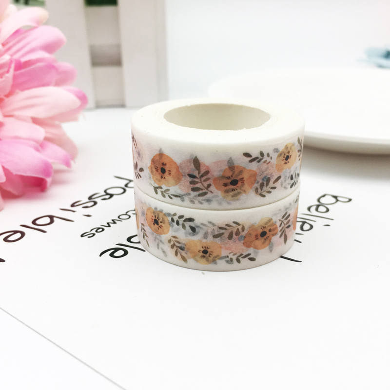 15mm*10m Creative Cute Orange Flowers Masking Washi Tape Japanese Decorative Adhesive Tape