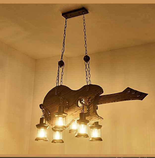 cheap rustic lighting. Online Shop Abajour Original Design Retro Industrial Pendant Lamp 6 Head Old Boat Wood Rustic Light Iron | Aliexpress Mobile Cheap Lighting