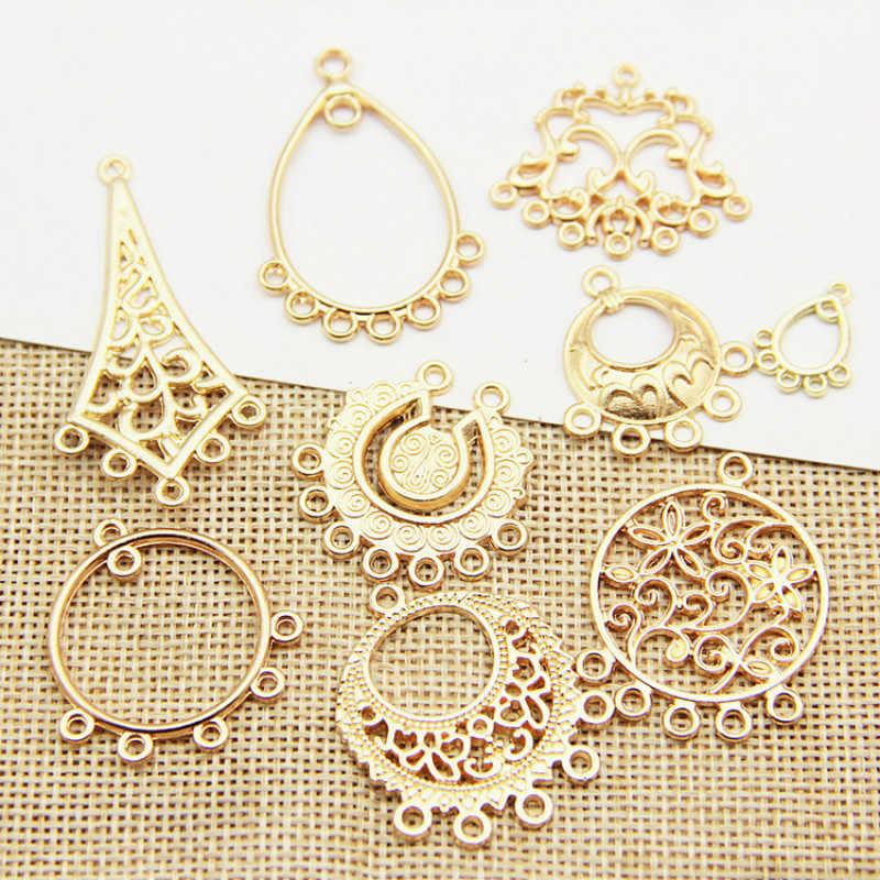 2 шт Позолоченные серьги люстра серьги Набор для создания украшений Diy материалы для серьги капли и Шарм Кулон пакет в ассортименте