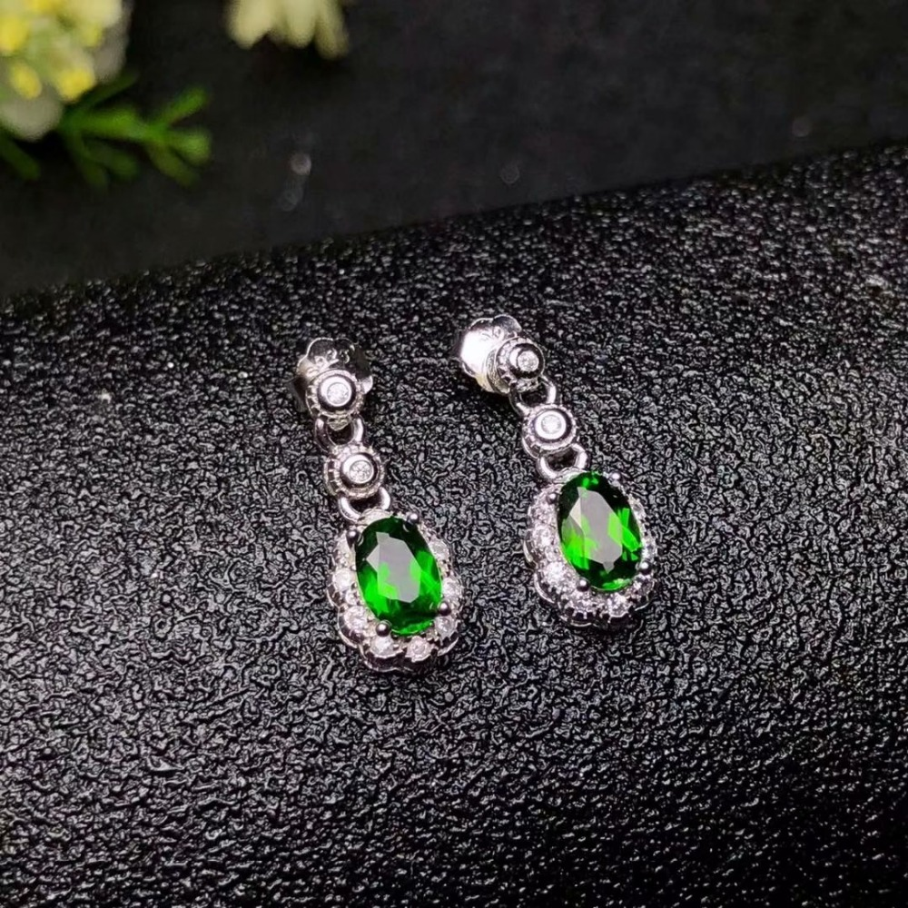 shilovem 925 sterling silver Natural diopside Stud Earrings fine Jewelry women trendy wedding wholesale yhj050501t in Earrings from Jewelry Accessories