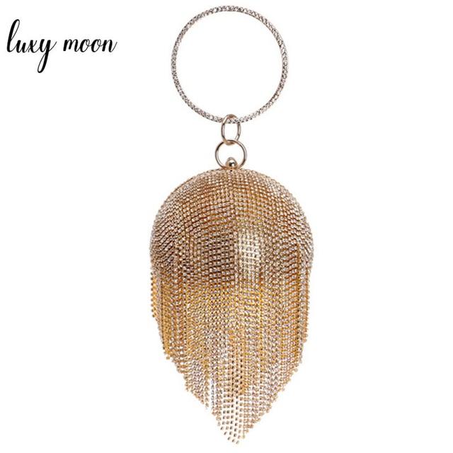 Fashion Women Clutch Bags Round Shaped Full Rhinestone Crystal Tassel Clutches Banquet Handbags Evening Bag Chain Shoulder Bag