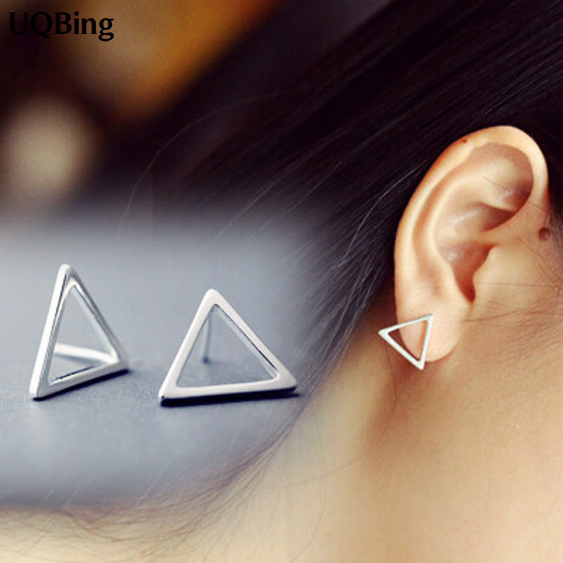 2016 Free Shipping Fashion Plain Silver Geometric Triangle Stud Earrings 925 Sterling Silver Earrings Jewelry Pendientes Brincos