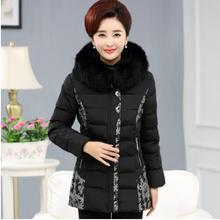 Новый 2016 зима теплая густой мех воротника длинные Ватные куртки женщин среднего возраста тонкий с капюшоном печати плюс размер куртки хлопка пальто CE906