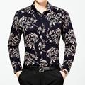 2016 Nueva Marca Vestido de Los Hombres de Algodón de Manga Larga Camisa Masculina Camisa Masculina Casual de Negocios de Moda Impreso Camisas Casuales Delgado