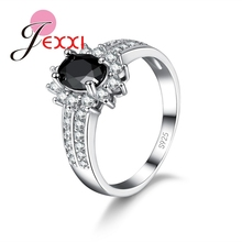 JEXXI Luxury Black Qnyx 925 Sterling Silver Double Finger Ring For Women With Paved Micro AAA Cubic Zircon Jewelry Wholesale