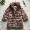 FF Marca Super Largo Abrigo de Piel de Invierno Las Mujeres de Imitación de Piel de Zorro abrigo de Cuello de Pie Caliente Chaqueta de Abrigo de Piel Para Mujer de Piel Sintética de Lujo chaqueta