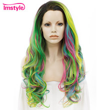 Imstyle Lace Front Wigs Rainbow Color Wigs For Women Long Wavy Multicolor Heat Resistant Fiber Synthetic Lace Wigs Cosplay Party(China)