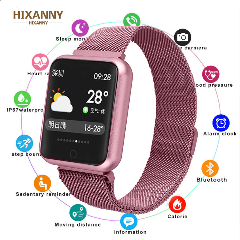 Sport <font><b>IP68</b></font> <font><b>Smart</b></font> Uhr P68 fitness armband aktivität tracker heart rate monitor blutdruck für ios Android apple iPhone 6 7 image