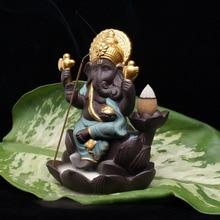 Indian Ganesha estatue Elephant god Buddha statues Backflowing incense burner base Ornaments gifurines Room Garden home decor