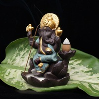 Indian Ganesha estatue Elephant god Buddha statues Backflowing incense burner base Ornaments gifurines Room Garden home decor
