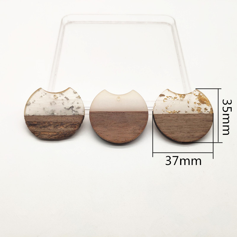 Image 2 - New arrival!37x35mm 30pcs round shape wood with Resin charm for stud earrings,earrings accessories,Earring parts,jewelry DIY-in Jewelry Findings & Components from Jewelry & Accessories
