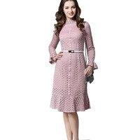 High Fashion Women Mermaid Dress Autumn Spring Flare Long Sleeve Leaves Lace Fishtail Vestidos Dress Renda