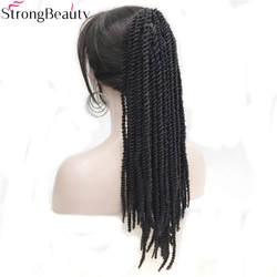 Сильный Красота афроамериканец косы плетеный хвост черный синтетический Парики коготь клип на расширения