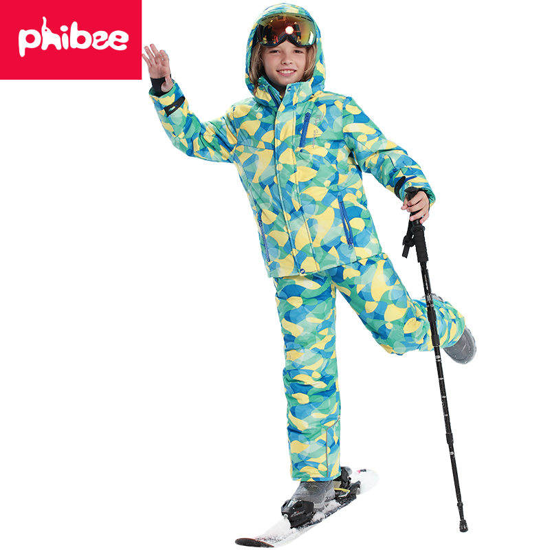 Phibee Winter Ski Suit Children Clothing Set Windproof Skiing Jackets + Pants Kids Snow Sets Warm Outdoor For Boys Girls 2016 winter boys ski suit set children s snowsuit for baby girl snow overalls ntural fur down jackets trousers clothing sets