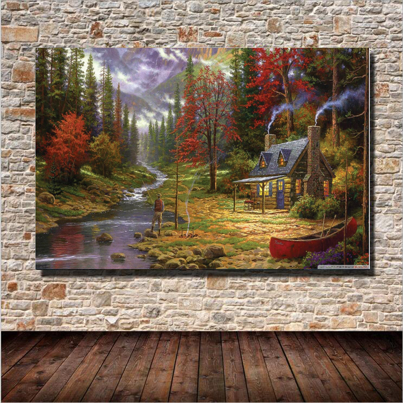 1 Plane Forest Cabin Famous Landscape Oil Painting Wall Art Home Decoration Canvas Painting For Bedroom Living Room