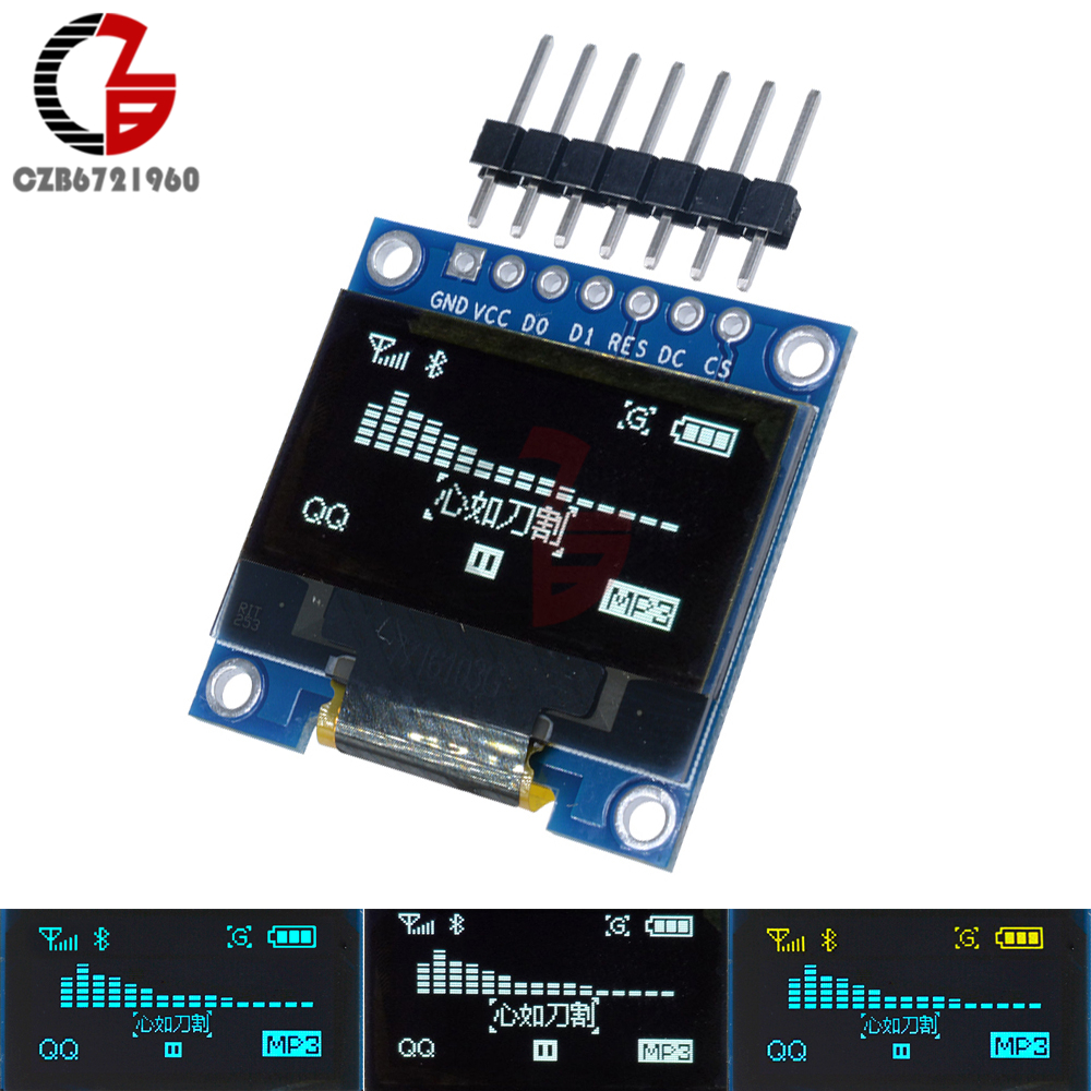 0.96 I2C IIC SPI Serial 0.96 inch 128x64 White Blue Yellow OLED LCD LED Display Module 7Pin DC 3-5V for Arduino STM32 CSR