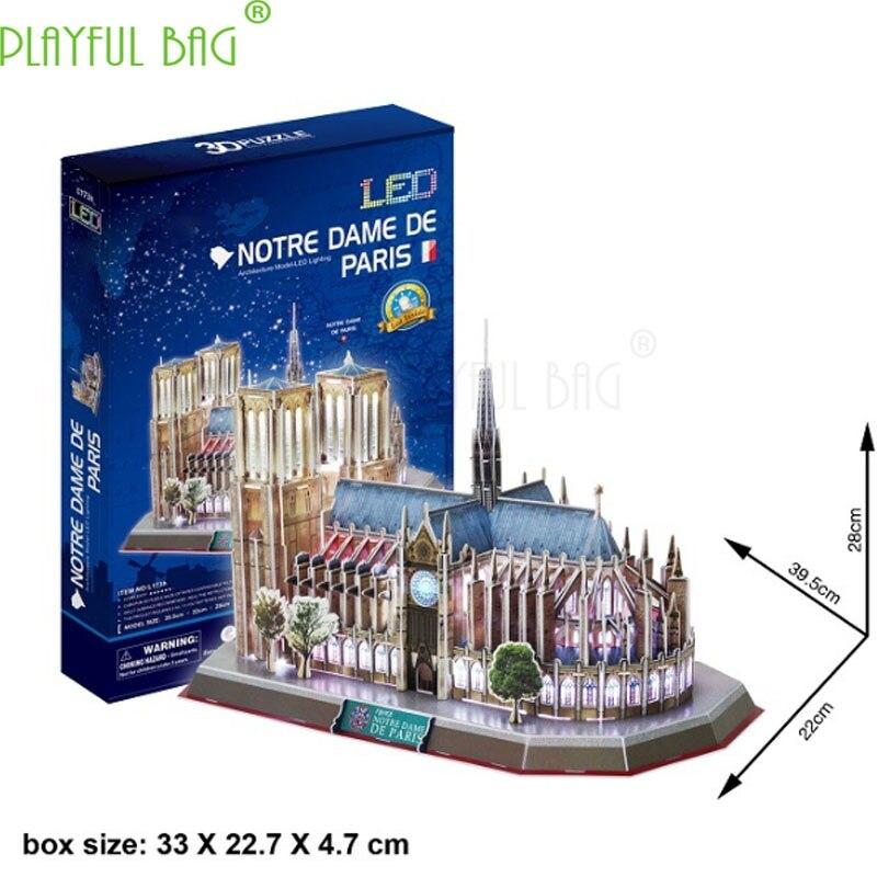 Nouveau véritable LED musique cube 3D puzzle Notre Dame de Paris France Monde célèbre architecture bricolage simulation produits HJ01