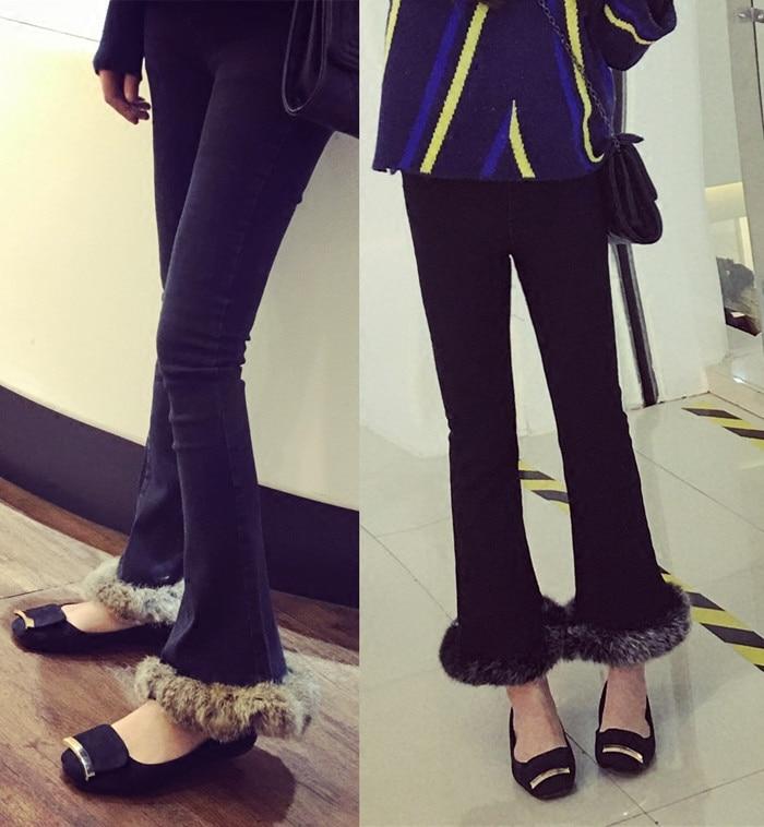 Woman Slim High Waist Wide Leg Denim Pants Female Fur Boot Cut Edge Jeans Top Fashion
