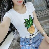 Missoov Summer Style Fashin Casual Tops Women T Shirt Ladies Sequins Tshirts Camisetas Femininas Brand Woman
