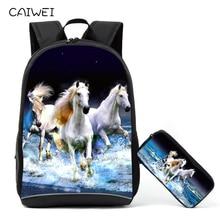 Sacchetti di scuola animale del cavallo del più nuovo disegno marrone per il caso primario della matita dello zaino 2PCS / Set per i mochilas Bookbags dei bambini