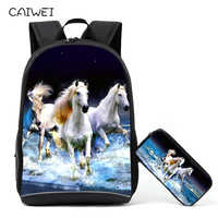 Newest Design Brown Horse Animal School Bags For Primary 2PCS/Set Backpack Pencil Case For Children Mochilas Bookbags