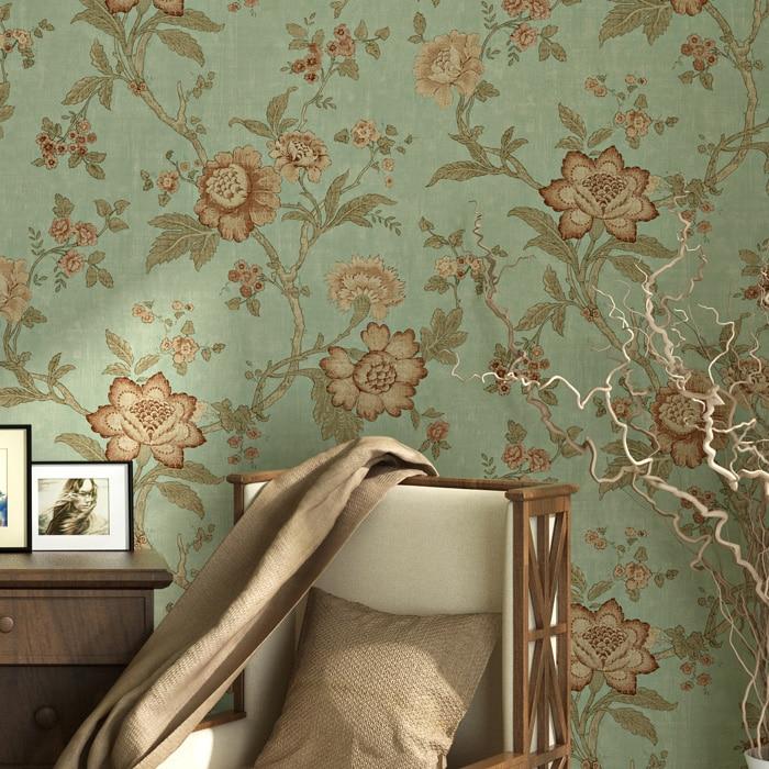 Papier peint pastorale grande fleur salon chambre intissé doux Vintage rouge café vert Beige papier peint rouleau