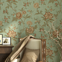 Pastoral Big Flower Wallpaper Living Room Bedroom Non Woven Sweet Vintage Red Coffee Green Beige Wall