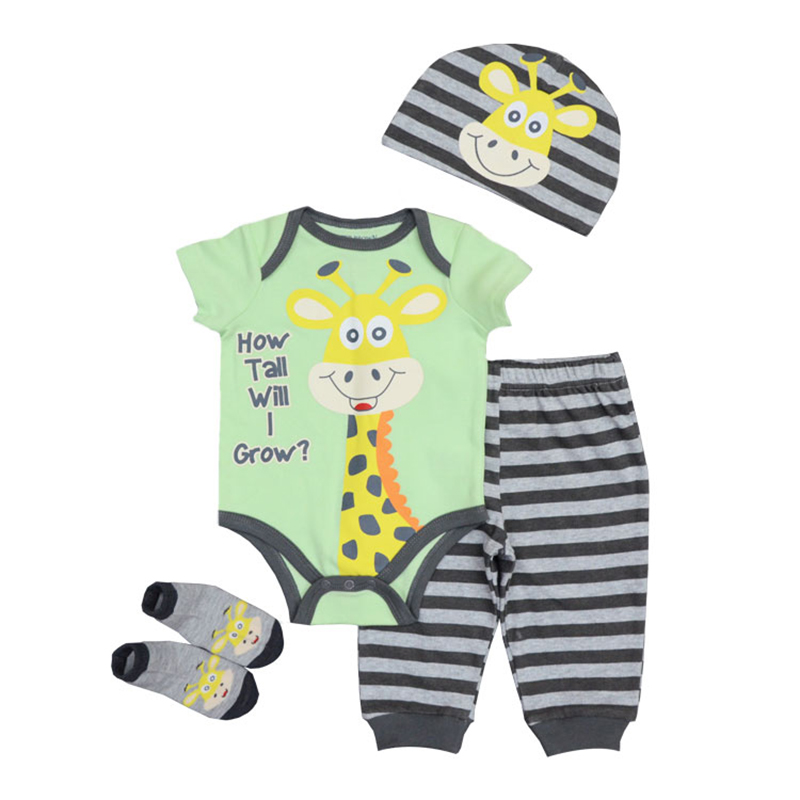Newborn Baby Clothing Set 2018 New Boy Girl Unisex Short Sleeves Cotton O-Neck Clothes Infant Bodysuit Hat+Pants+Top+Socks newborn baby boy girl 5 pcs clothing set cotton cartoon monk tops pants bib hats infant clothes 0 3 months hight quality