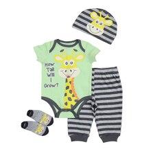 5pcs Baby Unisex Short Sleeved Cotton Bodysuit + Hat+Pants+Top+Socks