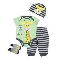 Newborn Vestiti Del Bambino Set 2018 New Boy Girl Unisex Maniche Corte In Cotone O-Collo Abbigliamento Infantile Tuta Hat + Pants + Top + Calzini