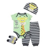 Newborn Baby Clothing Set 2017 New Boy Girl Unisex Short Sleeves Cotton O Neck Clothes Infant