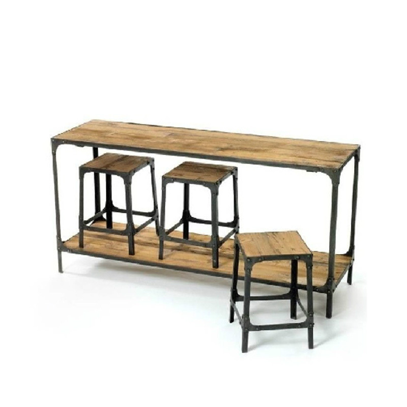 American Retro Dinette Loft Industry Conference Iron Wood Bar Tables And  Chairs Combination Coffee Dining Table And Chairs