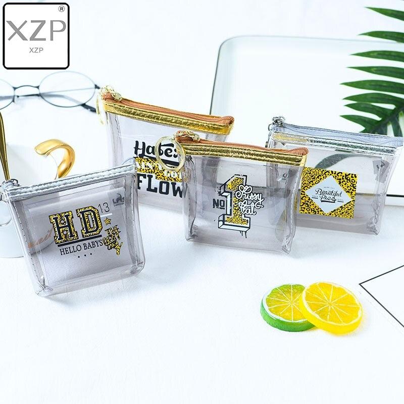 XZP Wallet Bag Purses-Holder Coin-Pouch Zipper Transparent Letter Square Leopard Women