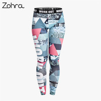 Zohra Retro Graphics Women Legging Triangle Graffiti Printing Leggings Fashion Slim High Waist Woman Pants