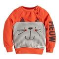 Осенью 2016 новый Европейский стиль одежды свитер шаблон с полосатый котенок детей с длинными рукавами Футболки кашемир