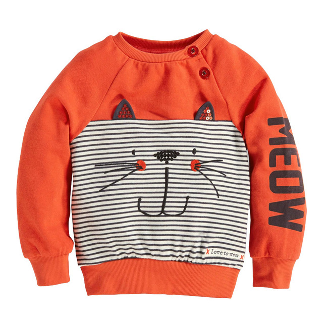 In the autumn of 2016 new European style clothing sweater pattern with striped kitten children long sleeved T-shirt cashmere