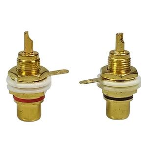 Image 2 - Conector RCA de plástico blanco chapado en oro, 50 Uds., adaptador de Panel RCA, toma de Audio para chasis, mampara con tuerca, terminal de copa de soldadura