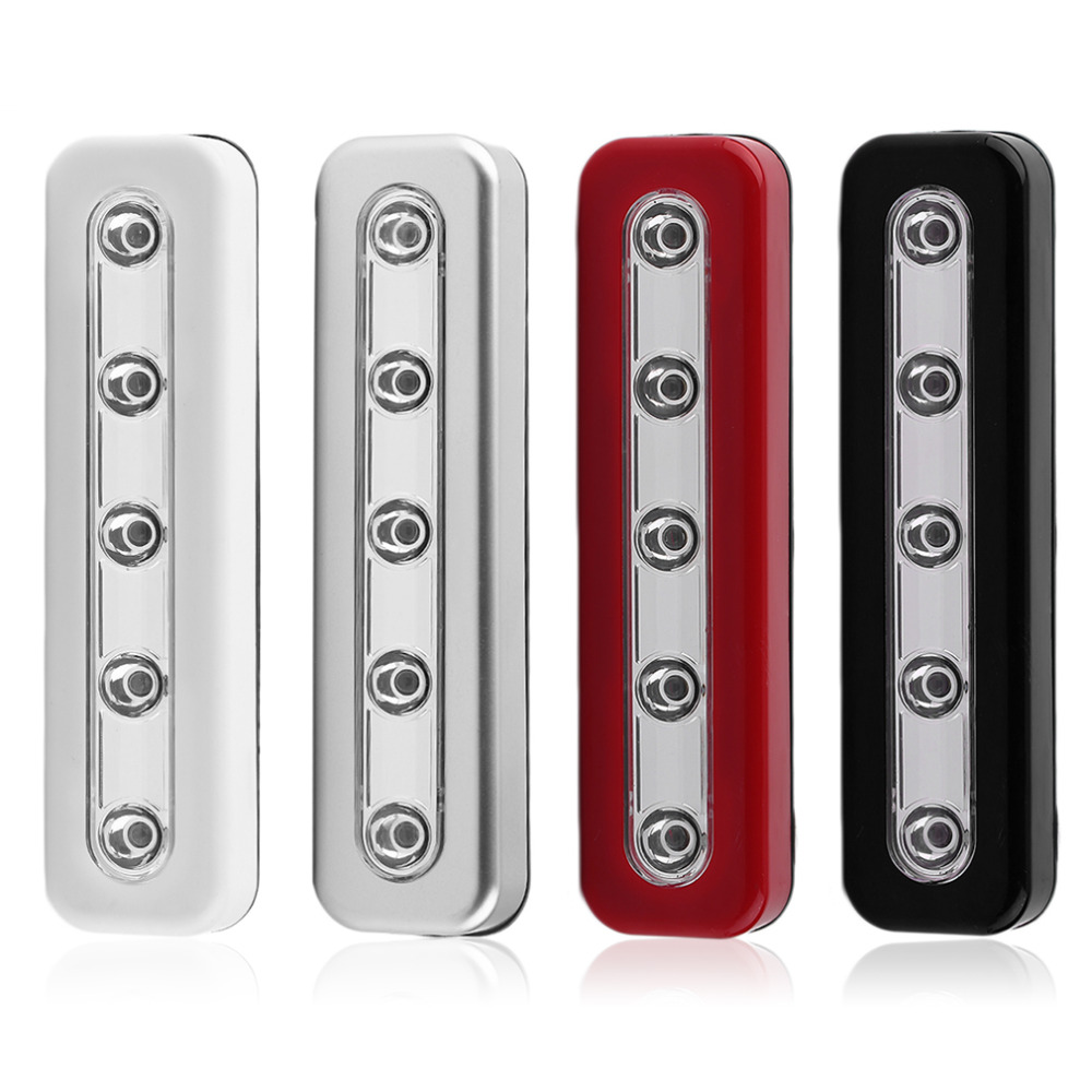 2017 NEW Super Brightness Wireless Wall Light 5 LED Cabinet Closet Self-Stick Tap Light Home Night Emergency Touch Light Lamp