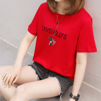 Summer Style New Fashion Casual Red Color T Shirt 2019