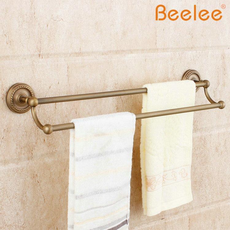 Vintage Ceramic Towel Bar: Beelee BA6102A DoubleTowel Bar Brass Antique Porcelain