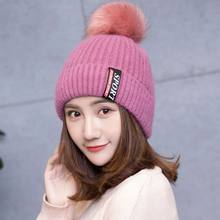 41023554164 Fashion Winter Faux Fur Small Ball Cap Pom Poms Warm Hat for Women Girl  s  Hat Knitted Beanies Cap Brand New Thick Feminino Cap
