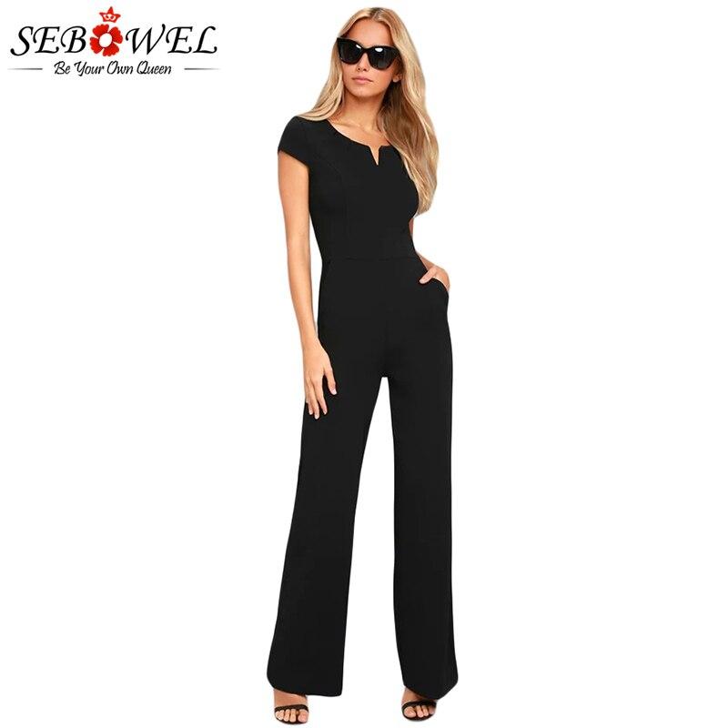 SEBOWEL 2018 Summer Black Wide Leg Jumpsuit Women Elegant Sexy Casual Jumpsuit Long Pants Overalls Formal Full Length Jumpsuits