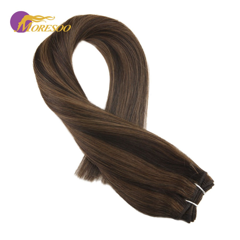 Moresoo Weft Hair Extensions Remy Human Hair Color Darkest Brown #2 Highlighted With #8 Brazilian Human Hair Weaving/Weft 100G
