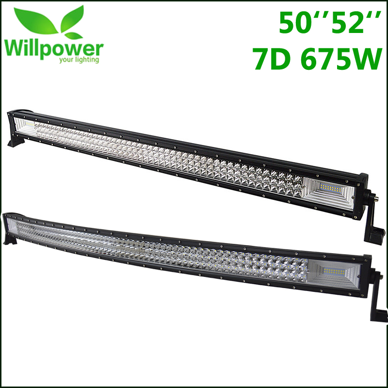 LED Bar Offroad 50 52 Curved Straight Work Light 675W Off Road LED Light Roof Bar