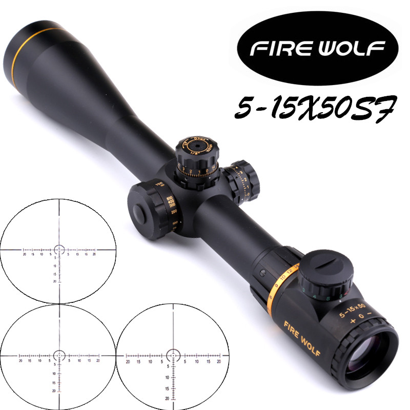 Fire Wolf 5-15X50SF Golden Optics Riflescope Side Parallax Tactical Hunting Scopes Rifle Scope Mounts For Airsoft Sniper Rifle