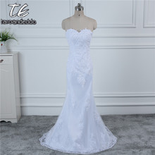 In Stock White Ivory Applique Lace With Beading Wedding Dress Bandage Dropped Bridal Dress Robe De