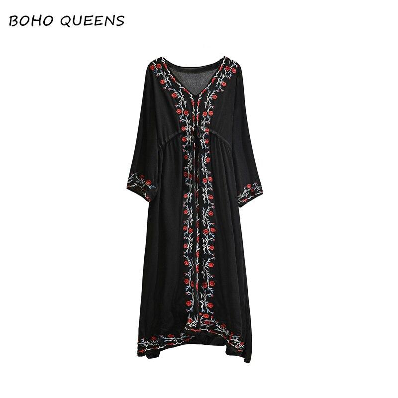 Boho Chic vestidos vintage dress Floral emberoidery beach Bohemian cotton dresses women maxi dress Ladies v