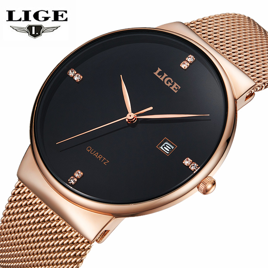 LIGE Mens Watches New luxury Brand Watch Men Fashion Sports Quartz-Watch Stainless Steel Mesh Strap Ultra Thin Dial Date Clock