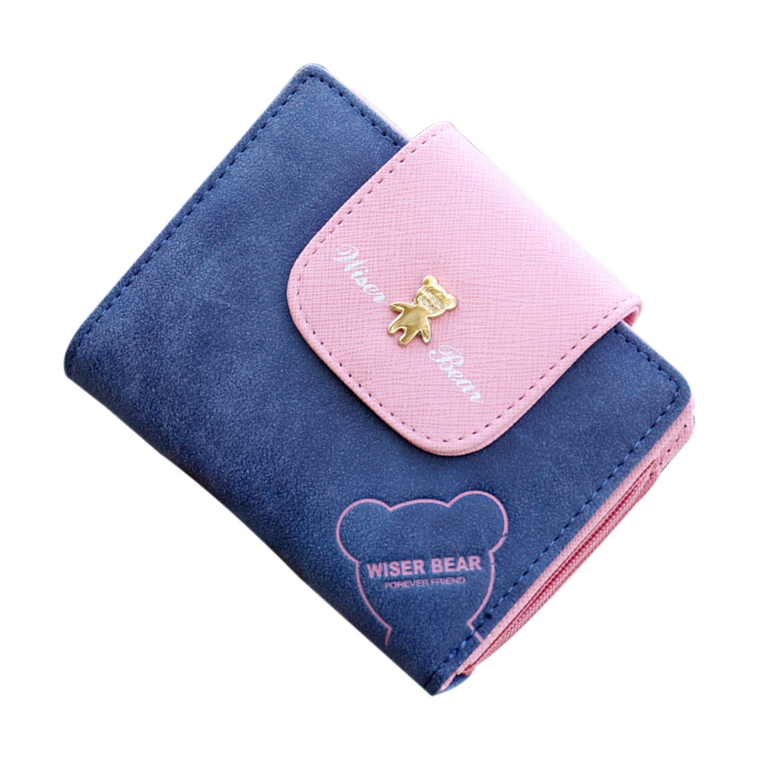 Fashion Lovely Bear Wallet Female Leather Small Change Clasp Purse Money Card Coin Holder Girls Women Purses