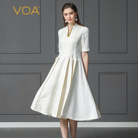 VOA Heavy Silk White Office Pleated Dress Women Plus Size 5XL V Neck Half Sleeve Midi Dress Summer Basic Casual Slim Brief A311
